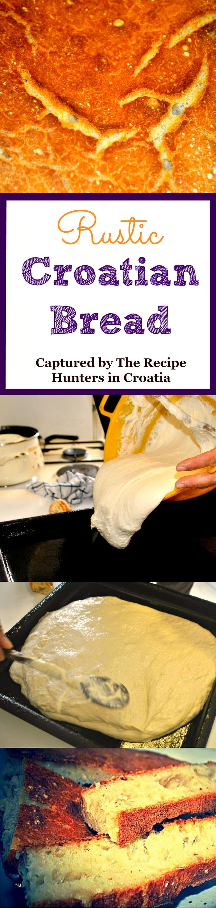 Rustic Croatian Bread Recipe - Crunchy on the outside, soft and dense on the inside, this bread provides the perfect blend of textures. This recipe is quick and easy, and best of all, any  leftover dough can be fried for dessert!