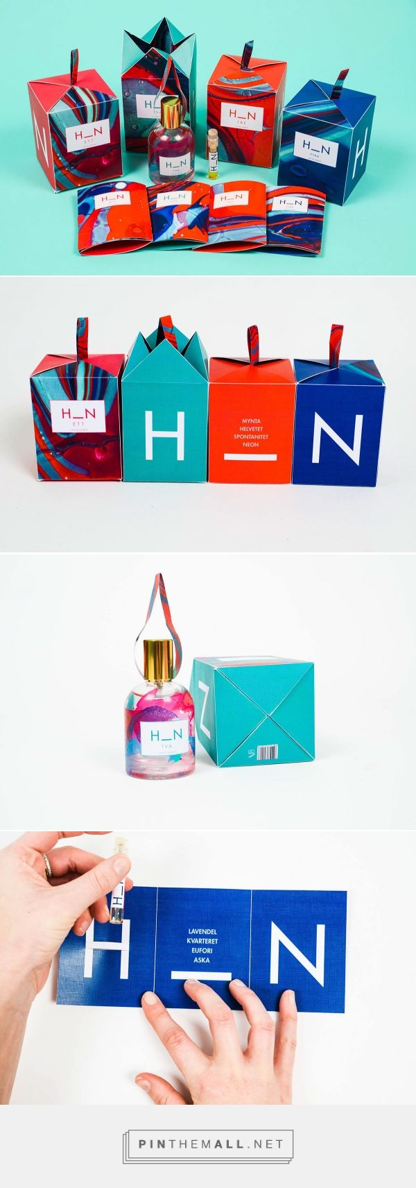 H_N PERFUME on Behance  from Stockholm curated by Packaging Diva PD. Gender project: Colorful Unisex perfume packaging. Design: Anna Karlin, Mattias Nyberg, Vilda Forsén.