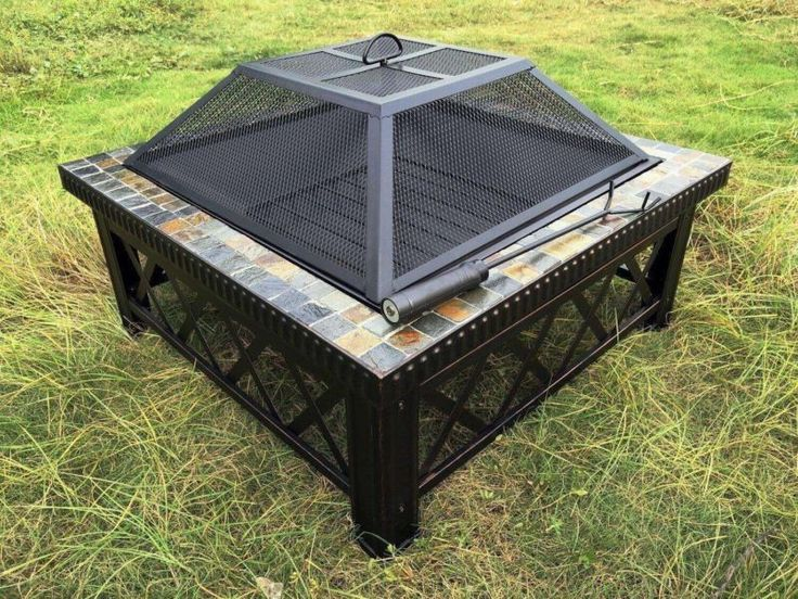 Stone Fire Pit Square Table Wood Burner Patio Deck Heater Mosaic Top Mesh Screen