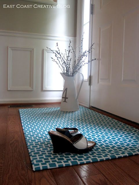 DIY Fabric Floormat - One of easiest ideas I've seen yet!. I need to make this!