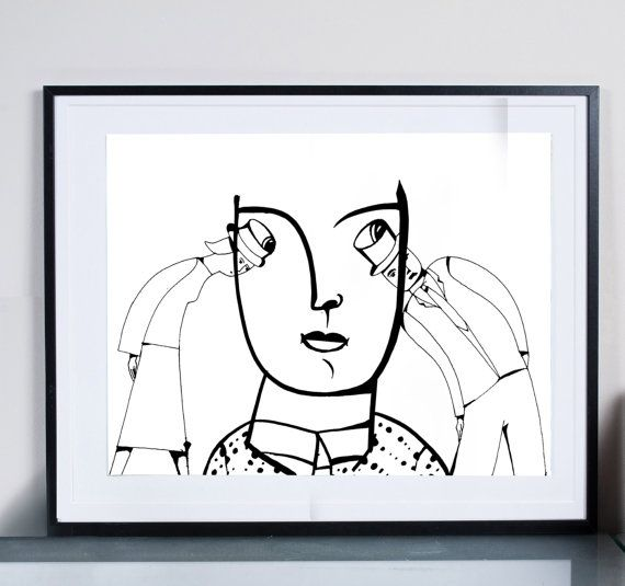 meeting ...Illustration art giclée print signed by  Tomek Wawer, #two person #black and white #drawing #poster