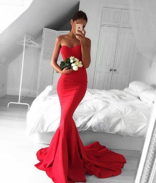 Glamour Red Sweetheart Prom Dress,Mermaid Prom Dress,Long Formal Dress With Sweep Train,Strapless Bodycon Prom Dresses