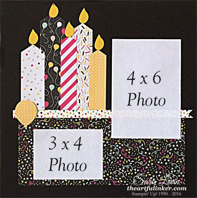 Sara Levin | theartfulinker.com Birthday candle tradiational 12 x 12 scrapbook…