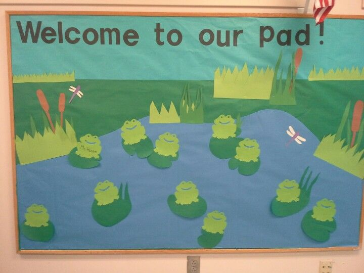 Frog bulletin board in my room. Frogs will have student names on them!
