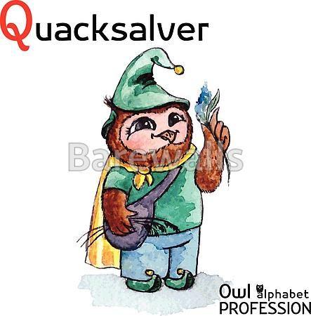 """""""Alphabet professions Owl Letter Q - Quacksalver character Vector Watercolor."""" - Classroom decor posters and prints available at Barewalls.com"""
