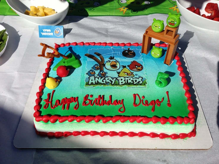 Easiest angry birds cake albertson 39 s cake angry bids for Angry birds cake decoration kit