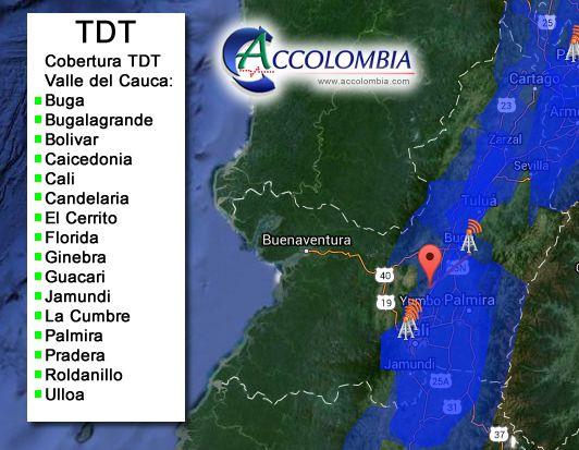 Television Digital Terrestre 2 Generacion (TDT-2) Colombia Cobertura FTA DVB-T2 Accolombia
