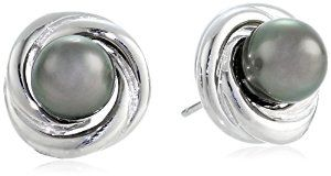 Sterling Silver 8-8.5mm Tahitian Cultured Black Pearl Love Knot Earrings available at joyfulcrown.com