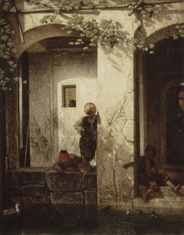 터키의 추억 (우물가의 터키 아이들) (Souvenir de la Turquie d'Asie dit Enfants turcs aupres d'une fontaine)  알렉상드르 가브리엘 드캉프 (Alexandre Gabriel Decamps) / 1846년 / 유화 / 캔버스에 유채 / 콩데 미술관 소장 / 흐릿한 그림자를 통해 따뜻한 오후의 햇살이 아이들을 비추고 있다는 것을 알 수 있다. 아이들은 우물가인지 분수인지 알 수 없는 곳에서 해맑게 놀고 있다. 전체적인 분위기가 평화롭고 따뜻하며 소박한 것은 건물에 비치는 빛 때문이다. 안정적인 구도와 전체적인 갈색톤, 흐릿한 그림자를 통해 드러나는 대비는 그림을 추억속의 한 장면처럼 묘사하고 있다.