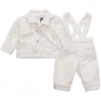 Tartine et Chocolat Baby Boys Ivory 2 Piece Velvet Suit at Childrensalon.com