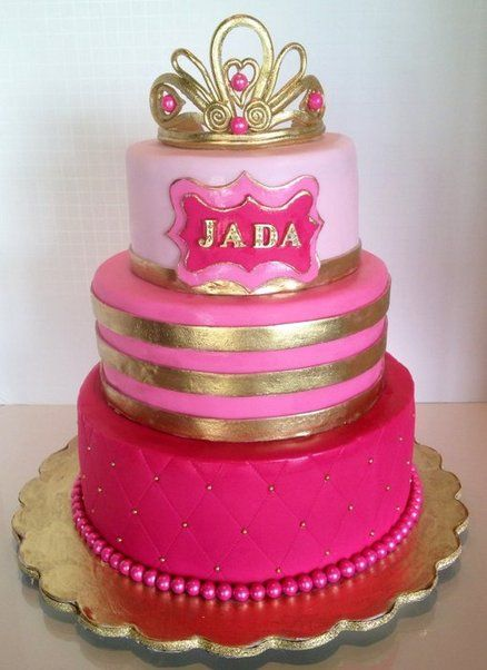 Lovely Pink Ombré And Gold Princess Baby Shower Cake