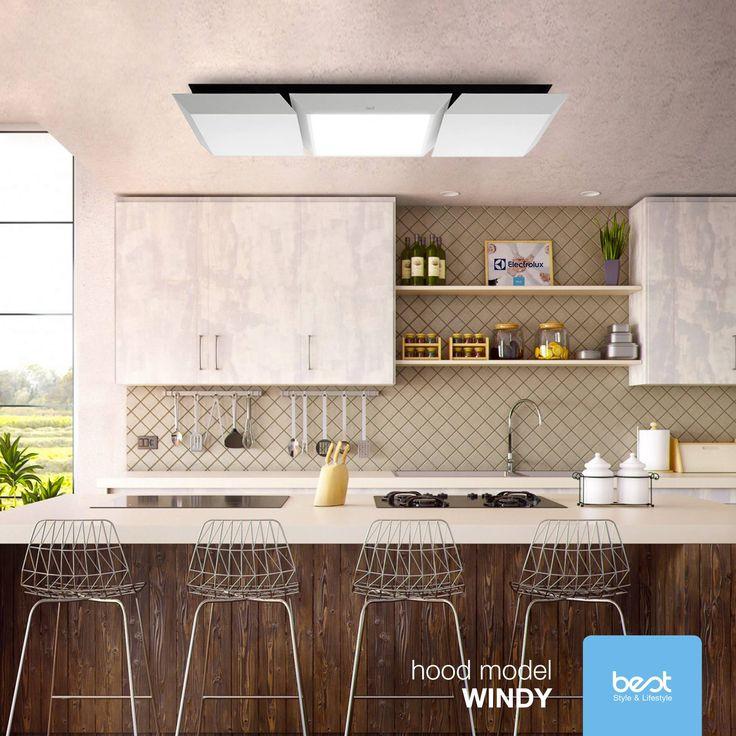 Twoja #kuchnia z okapem Best Windy to źródło inspiracji: materiał, funkcjonalność, czystość i lekkość. Za pomocą pilota możesz sterować wszystkimi funkcjami okapu, jak natężenie oświetlenia LED, dostosowując go idealnie do Twojego środowiska.  #okap #best #nowoczesnakuchnia #klimat #atmosfera  Foto: Best