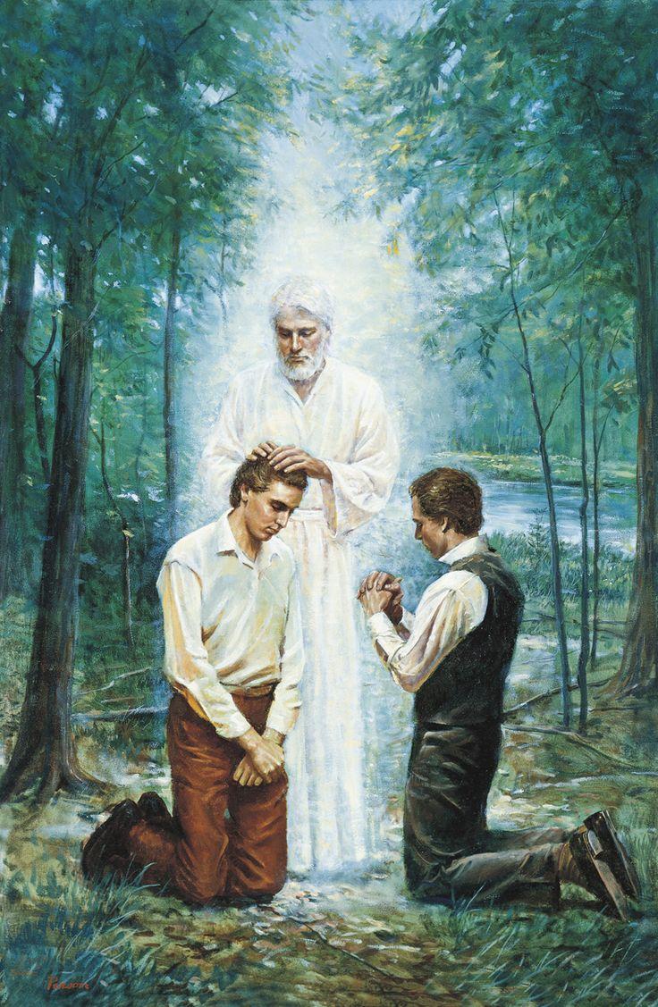 Juan El Bautista confiriendo el Sacerdocio Aaronico a José Smith y Oliver Cowdery.