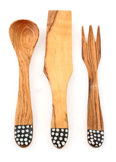 Wild olivewood and bone Serving Utensil Set