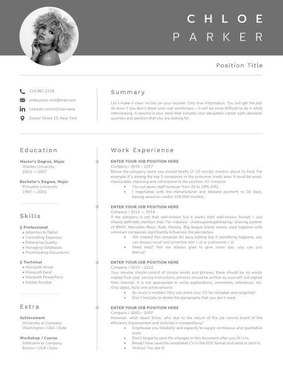 Un Cv De Pages Modele Avec Photo Modele De Cv Lettre De Etsy Modele Cv Le Cv Curriculum Vitae