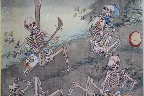 Frolicking Skeletons - by Kawanabe Kyosai [Japanese] - Richard Harris Art Collection