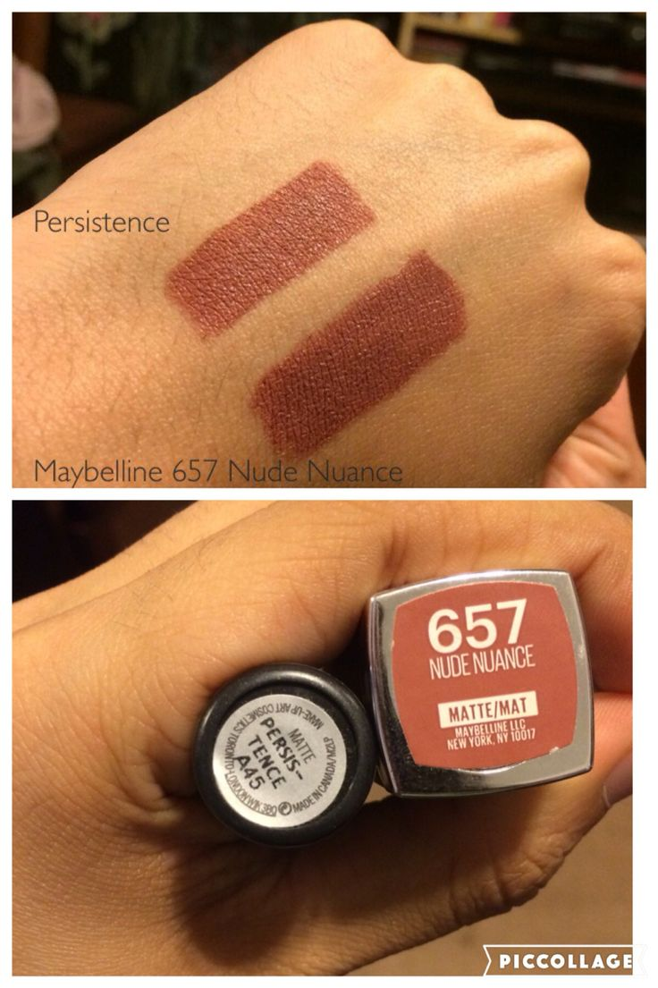 Hey guys!! These are my two everyday lip sticks that I wear. As labeled, they are actually two different lip sticks! On the left in both photos is the matte lipstick called Persistence from Mac. It was 20$ which is a little expensive but well worth it. If you are looking for something cheaper with this same color, then you should buy Maybelline's Nude Nuance in 657. You can find this in your local Walmart for only 7 dollars!