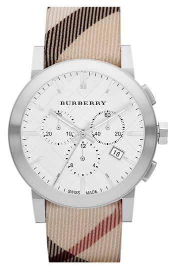 Burberry Chronograph Check Strap Watch, 42mm available at #Nordstrom
