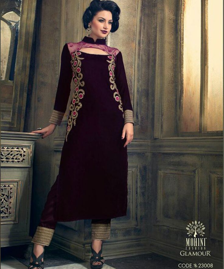 #OnlineShoppingIndia Store sell #Designer Heavy #Embroidered on Velvet With Dark Magenta Color top And Satin Golden Boredr Bottom With Chiffon Dupatta #semi-stitched #salwar-suit #dress materials.
