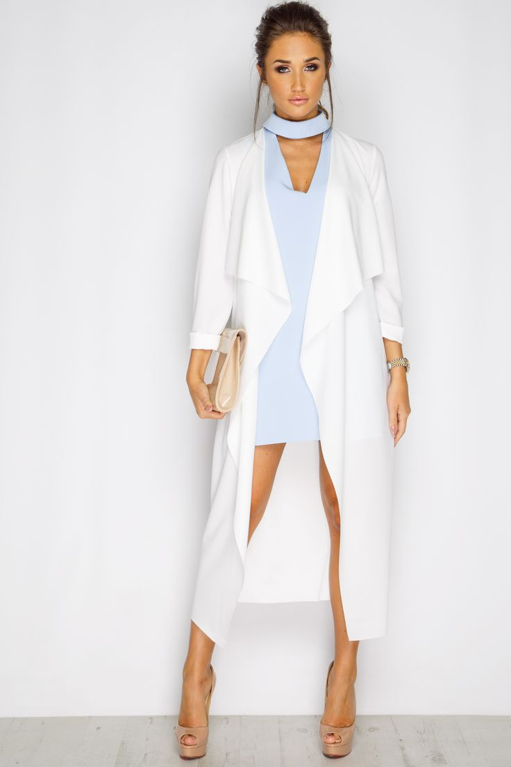 Megan McKenna White Waterfall Jacket at misspap.co.uk