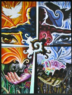 The painting is divided into two parts. On one side there were bright colors used. On that bright side there is an eye, a hand holding a skull that has something coming out of his mouth, a man's half upper body, and a white bird. On the darker side there is another eye, a hand holding something, a black bird, and a women's half upper body.