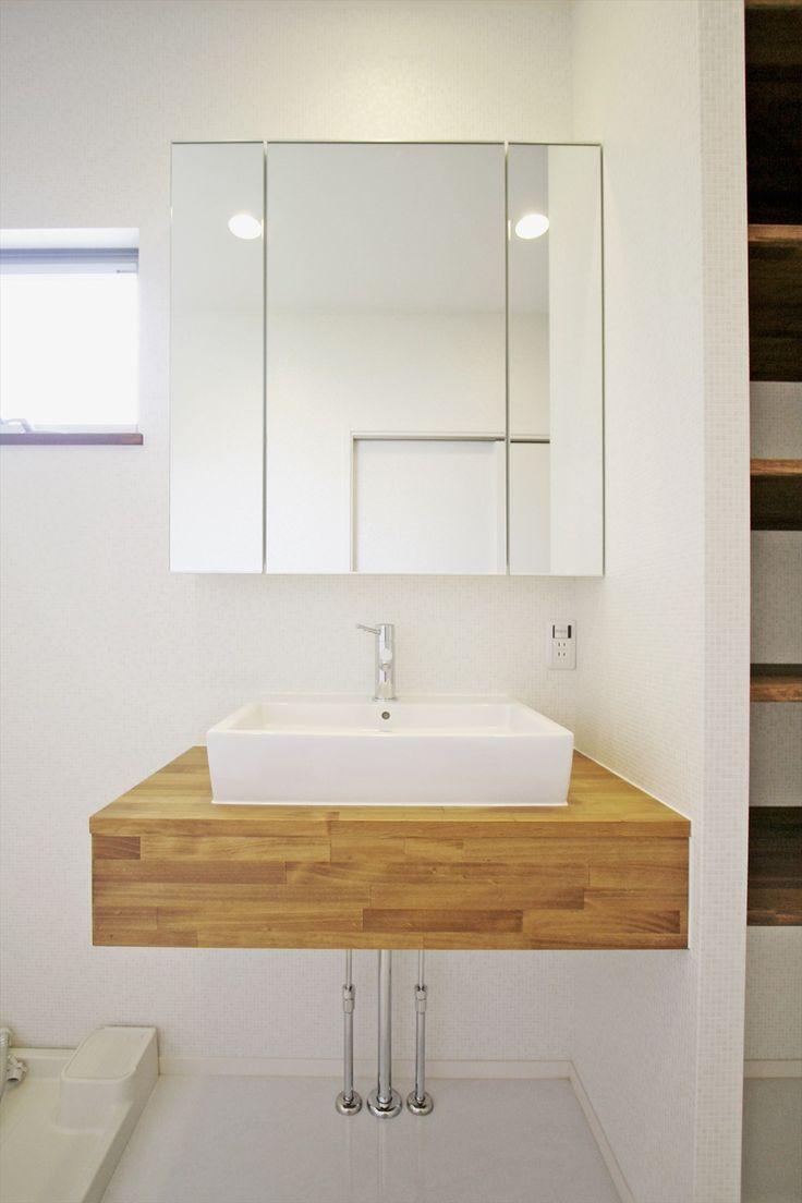 造作洗面台/洗面室/シンプル/三面鏡/スクエアボウル/注文住宅/インテリア/ジャストの家/washstand/lavatory/powderroom/bathroom/vanity/natural/simple/design/interior/house/homedecor