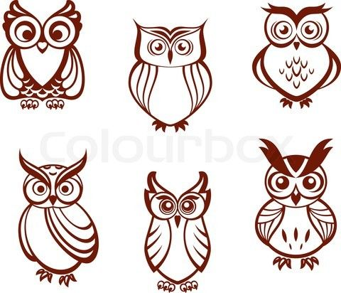 Vector of 'Set of cartoon owls for wisdom or education concept design. All birds are isolated on white background' on Colourbox