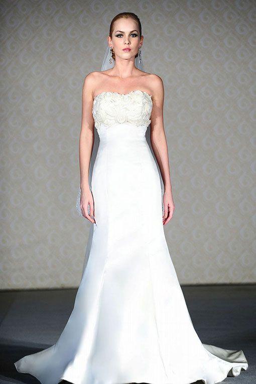 Trumpet Bottom Wedding Dresses : Satin bridal white season wedding dress gowns ruffle