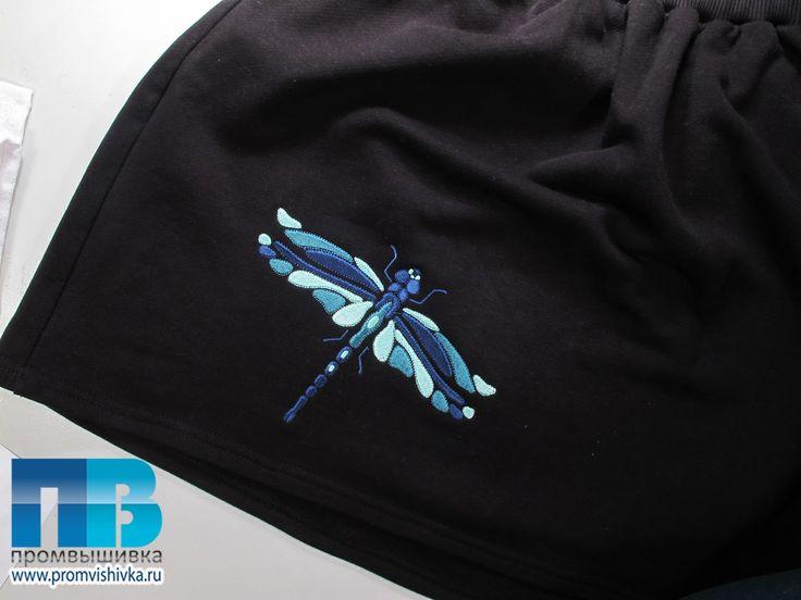 Вышивка на трикотажной юбке стрекозы для бренда Rebels United