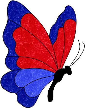 modello vetro colorato: Farfalla ~ pittura su vetro