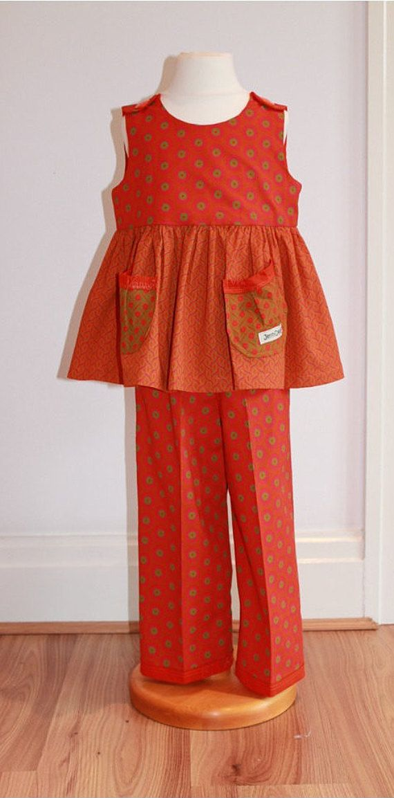 Girls African Print Pinafore/ Trouser Set  Orange/ by JenniDezigns