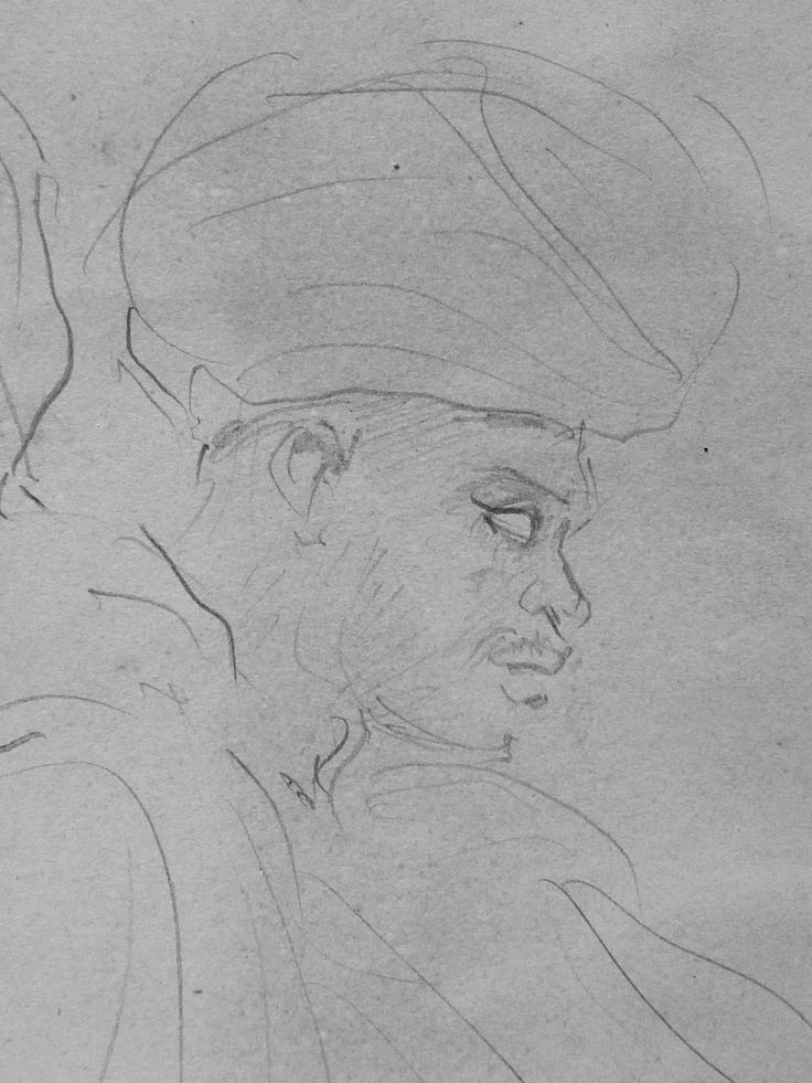 CHASSERIAU Théodore,1846 - Deux Arabes assis - drawing - Détail 34