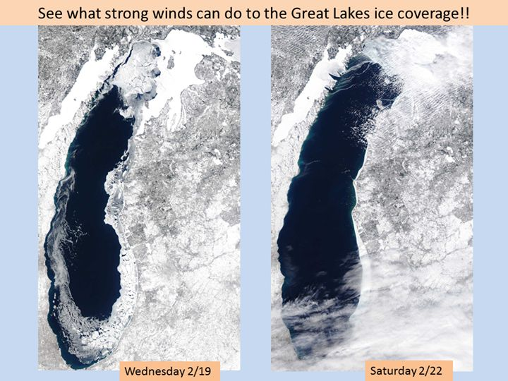 Amazing what the wind can do to the Great Lakes ice coverage! Full size images can be found here: http://coastwatch.glerl.noaa.gov/webdata/cwops/html/modis/modis.php?region=m&page=1
