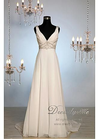 Buy discount Luxury V Neck Beach Romantic Wedding Dress (L# r8005) at Dressilyme.com