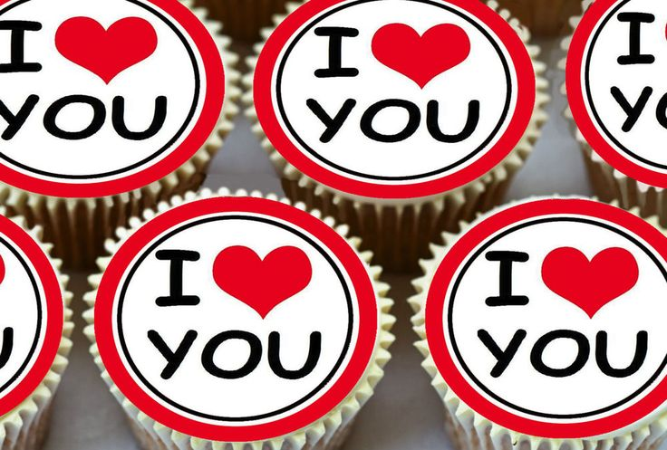 24 x I LOVE YOU LOU PERFECT VALENTINES EDIBLE CUPCAKE TOPPERS CAKE RICE PAPER V4