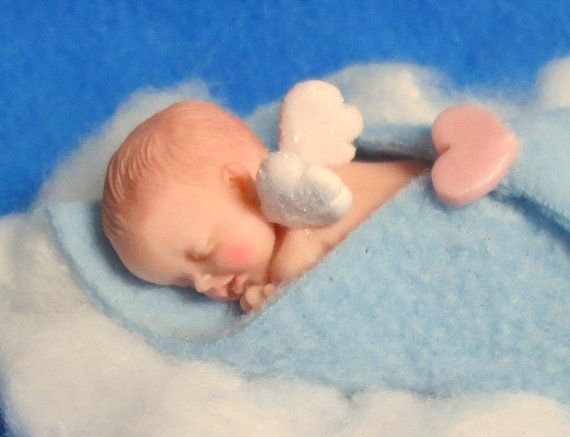 Sweet Memorial Angel Baby Boy Figurine Or Ornament Polymer
