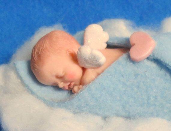 Sweet Memorial Angel Baby Boy Figurine Or Ornament Polymer