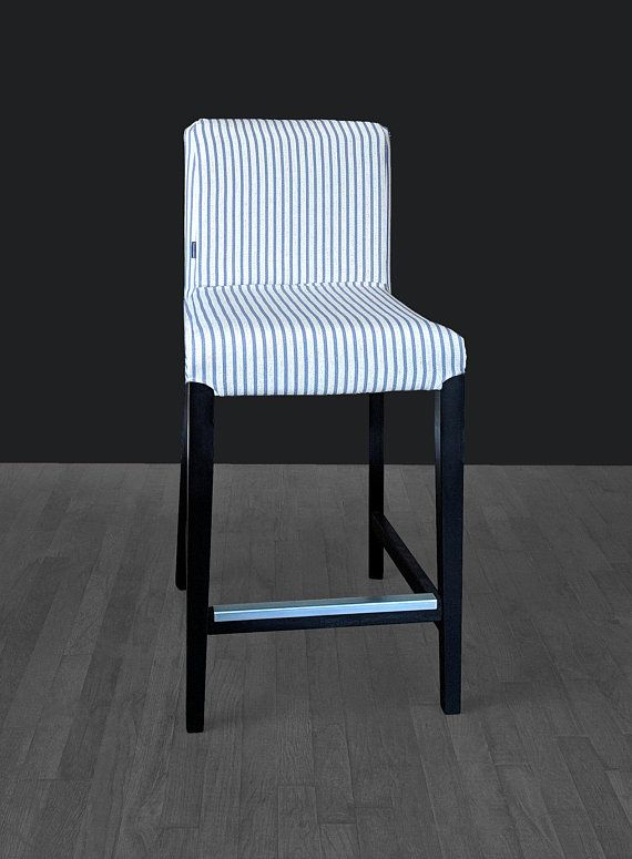 Custom Chair Covers Ikea High Second Hand Blue Ticking Stripe Henriksdal Seat Cover