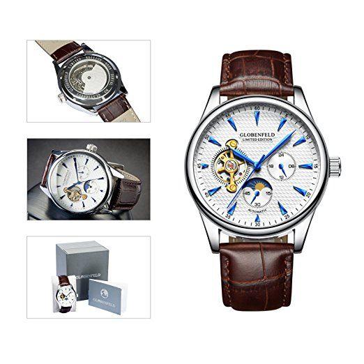 Globenfeld | Reloj de Hombre Edición Limitada - Reloj Automático Analógico con Correa Cuero - Diseño Clásico - 5 Años de Garantía - 90 Días Devolución del Dinero: Amazon.es: Relojes