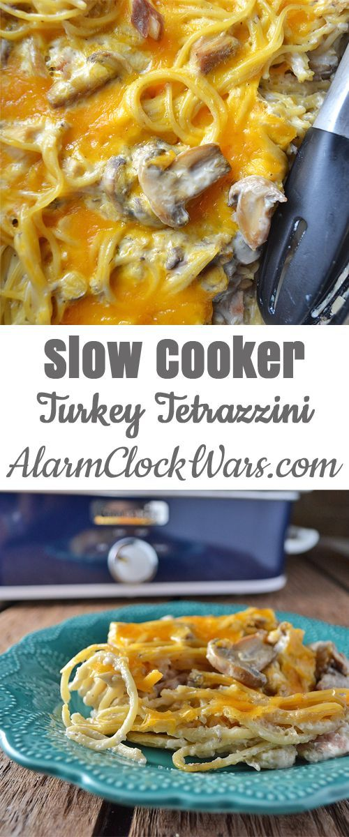 Delight the mushroom lovers in your family, and make dinner a snap with this Slow Cooker Turkey Tetrazzini with pasta and leftover turkey.