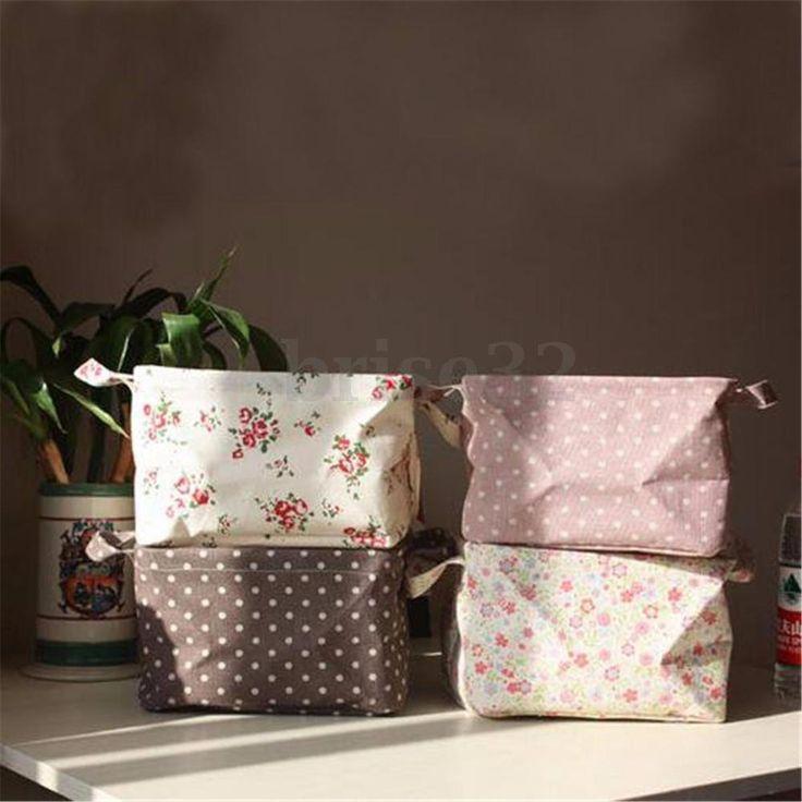 Cotton Linen Flower Folding Storage Desk Basket Bin Organizer Home Decor Basket #UnbrandedGeneric