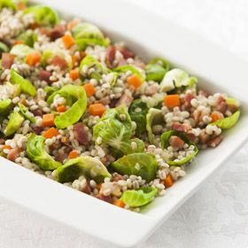 Barley with Brussels Sprouts Leaves, a recipe from ATCO Blue Flame Kitchen's Holiday Collection 2013 cookbook.