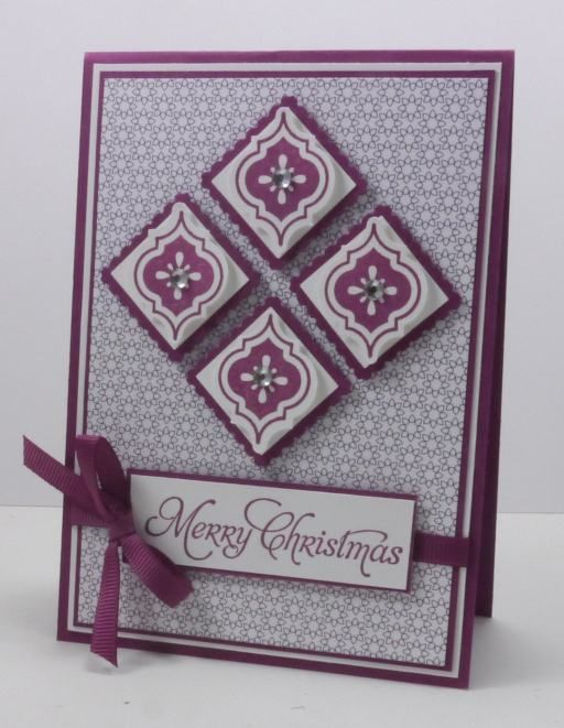 handmade Christmas card ... Mosaic Madness ... luv the diamond inchie pattern as focal point  ... square tiles matted with postage stamp punch ... punched tile popped up and topped with a rhinestone ... great formal design ... Stampin' Up!