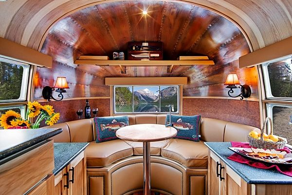 a 1954 airstream trailer was meticulously renovated by. Black Bedroom Furniture Sets. Home Design Ideas
