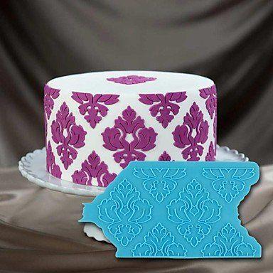 Silikonformen,Silikon Fondant Backform,Silikonform für Onlays Damast 3D Schablone,Silikon Ausstechform Marzipan Fondant Tortenrand Cup Cake Kuchen Hochzeitstorten Deko Matte Spitze Silikonform