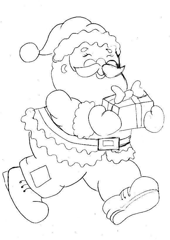 Papai Noel Com Presentinho Papai Noel Desenho Desenho De
