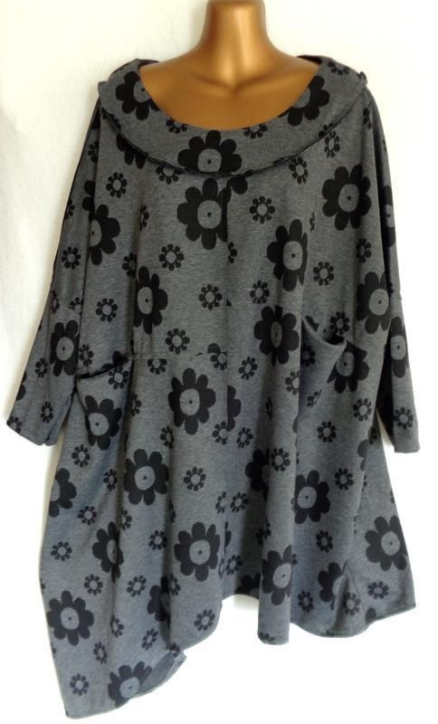 MADE IN ITALY - OVERSIZED GREY FLORAL BATWING LAGENLOOK TUNIC ONESIZE (2185) in Clothes, Shoes & Accessories, Women's Clothing, Tops & Shirts | eBay