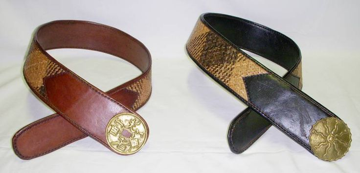 Leather and Rattan belt. A beautiful combination for a wide, modern but also hippy chic belt. All hand made with brass buckle.
