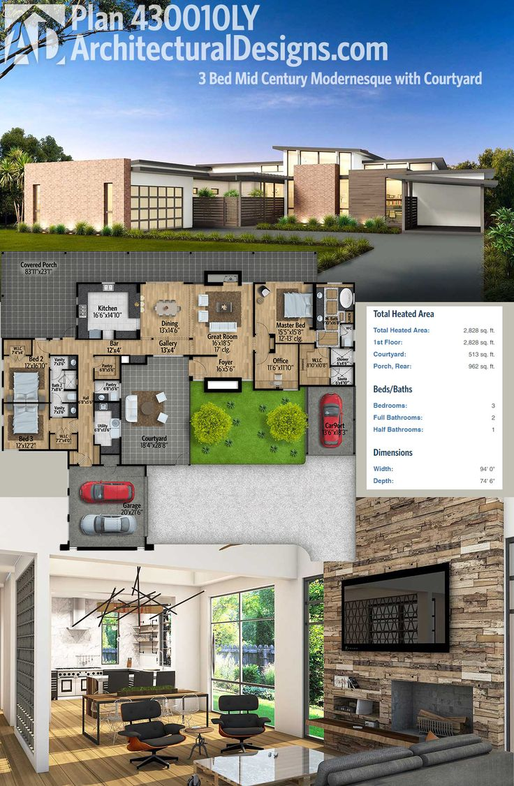 Plan 430010LY Mid Century Modern House Plan with