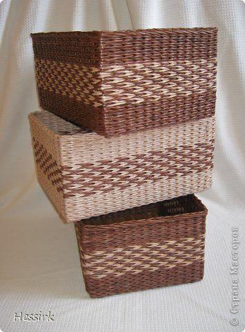 Поделка изделие Плетение корзины сделаны на заказ Бумага газетная Трубочки бумажные фото 4